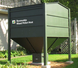 Outdoor wood pellet storage bin